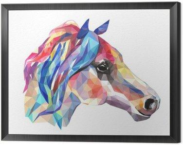 Tavla i Ram Häst huvud, mosaik. Trendig stil geometriska på vit bakgrund.