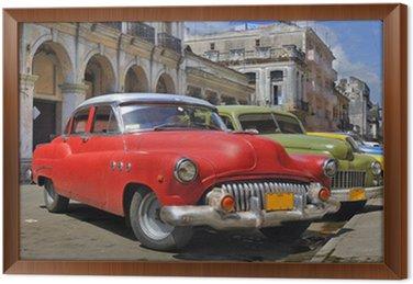 Tavla i Ram Havanna gata med färgglada gamla bilar i en rå