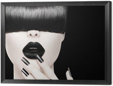Tavla i Ram High Fashion svartvit modell flicka porträtt