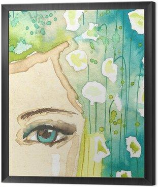 Tavla i Ram Illustration av abstrakta porträtt av en kvinna