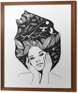 Tavla i Ram __illustration, grafiskt svartvita porträtt av kvinna
