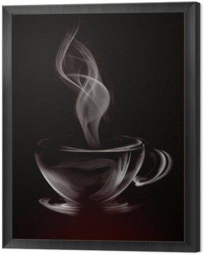 Tavla i Ram Konstnärlig Illustration Rök kopp kaffe på svart