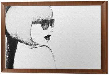 Tavla i Ram Kvinna med glasögon. akvarell illustration