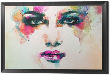 Tavla i Ram Kvinna stående .abstract akvarell .fashion bakgrund