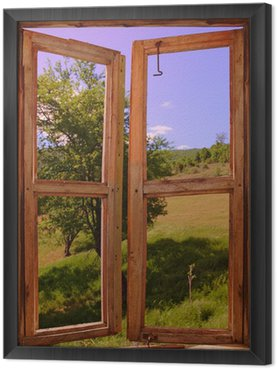 Tavla i Ram Landskap sett genom ett fönster