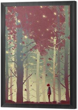Tavla i Ram Man står i vacker skog med fallande löv, illustration målning