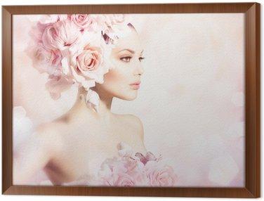 Tavla i Ram Mode skönhet modell flicka med blommor hår. Bride