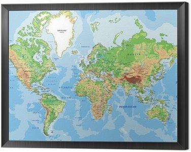 Tavla i Ram Mycket detaljerad fysisk Världskarta med märkning.