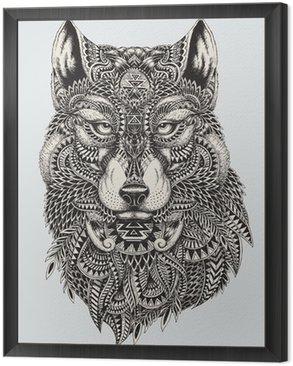 Tavla i Ram Mycket detaljerade abstrakt wolf illustration