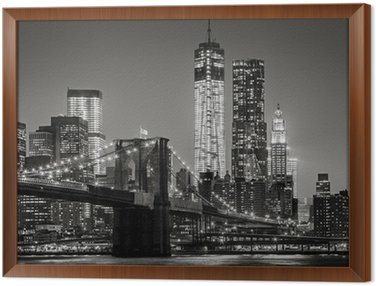 Tavla i Ram New York by night. Brooklyn Bridge, Lower Manhattan - Svart en
