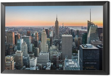 Tavla i Ram New York horisont vid solnedgången