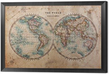 Tavla i Ram Old World Map i Hemispheres