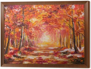 Tavla i Ram Oljemålning landskap - färgrik höstskog