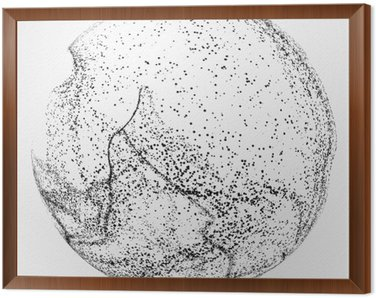 Tavla i Ram Oregelbundna abstrakt grafik, dynamisk partikelsammansättning.
