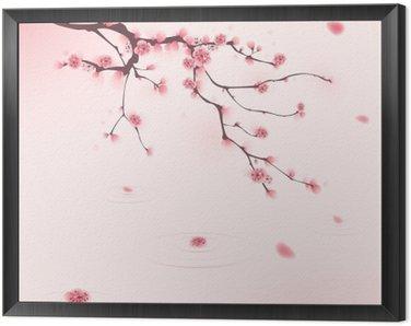 Tavla i Ram Orientalisk stil målning, körsbärsblom på våren