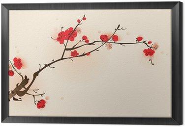 Tavla i Ram Orientalisk stil målning, plommon blommar på våren