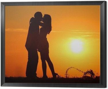Tavla i Ram Par vid solnedgången