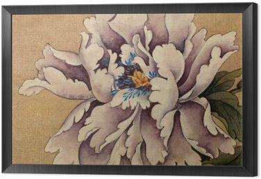Tavla i Ram Pion blomma på en gul bakgrund