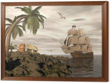 Tavla i Ram Piratskepp hitta skatten - 3d framför