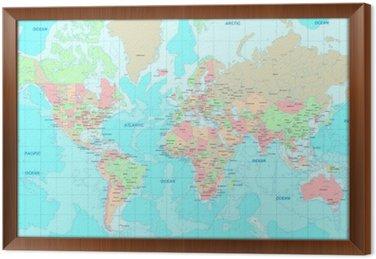 Tavla i Ram Politisk Världskartan