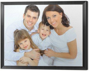 Tavla i Ram Porträtt av lycklig familj ler mot kameran