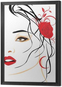 Tavla i Ram Porträtt av vacker kvinna med röd ros i håret