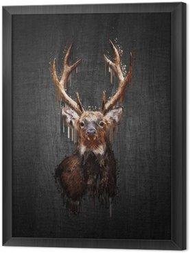 Tavla i Ram Rådjur på mörk bakgrund. måla effekt