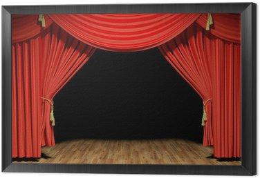 Tavla i Ram Red Stage teater sammetsdraperier