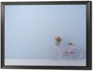 Tavla i Ram Retro tappning cykel gammal och blå vägg. 3D-rendering