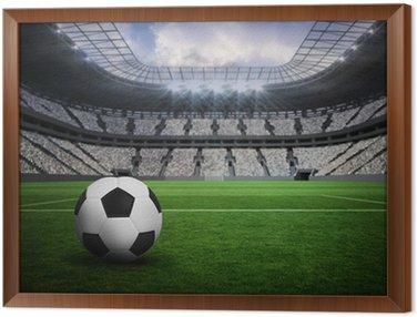 Tavla i Ram Sammansatt bild av svart och vitt läder fotboll