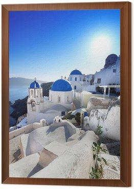Tavla i Ram Santorini med traditionella kyrkor i Oia, Grekland