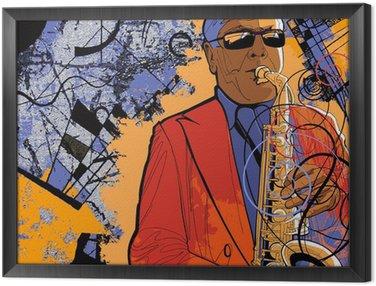 Tavla i Ram Saxofonist på en grunge bakgrund