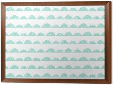 Tavla i Ram Scandinavian seamless mynta mönster i handritad stil. Stiliserade hill rader. Wave enkelt mönster för tyg, textil och barn linne.