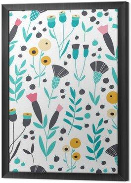 Tavla i Ram Seamless ljusa skandinaviska blommiga mönster