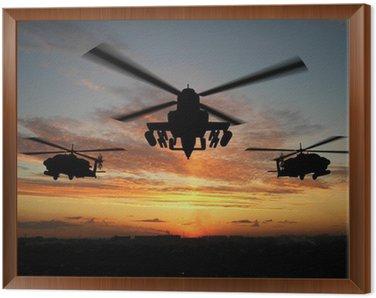 Tavla i Ram Silhuett av helikopter