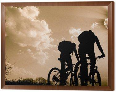 Tavla i Ram Silhuetter av cyklister