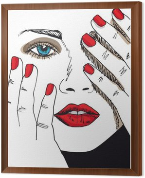 Tavla i Ram Skiss av vacker kvinna ansikte. Vektor, Illustration
