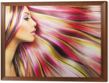 Tavla i Ram Skönhet Mannekäng flicka med färgglada Färgat hår