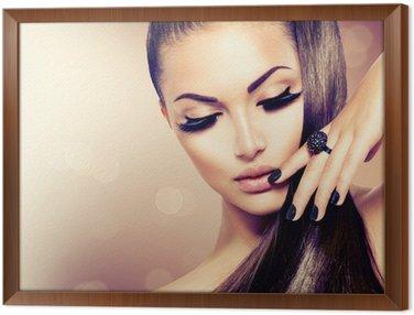 Tavla i Ram Skönhet Mannekäng Flicka med Long Healthy Brunt hår