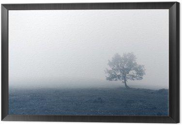 Tavla i Ram Solitärträd med dimma