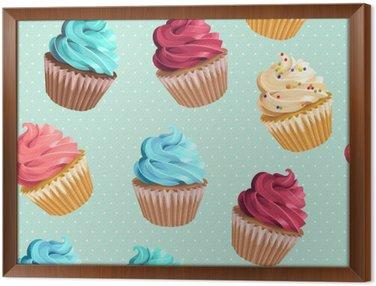 Tavla i Ram Sömlösa muffins och polka dot