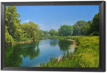 Tavla i Ram Sommaren landskap med floden och blå himmel