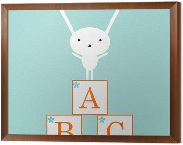Tavla i Ram Söt kanin med ABC leksaker