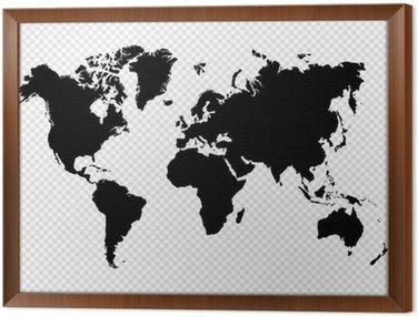 Tavla i Ram Svart silhuett isolerade Världskarta EPS10 vektor fil.