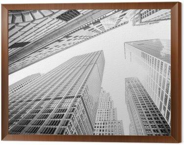 Tavla i Ram Tittar upp på skyskrapor i Manhattan, New York, USA