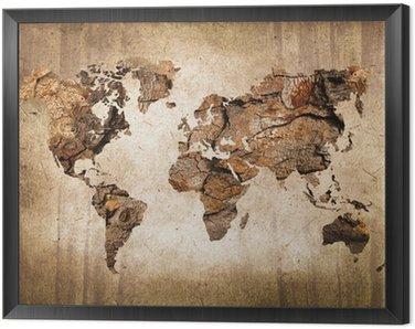 Tavla i Ram Trä världskarta, vintagestruktur