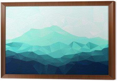 Tavla i Ram Triangle geometrisk bakgrund med blå berg