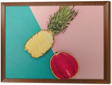 Tavla i Ram Tropical Mix. Ananas och vattenmelon. minimal stil