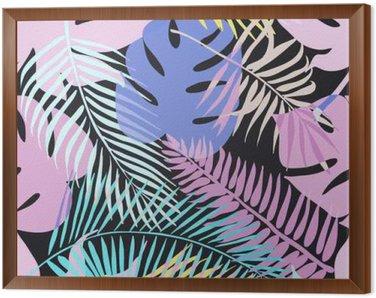 Tavla i Ram Tropiska exotiska blommor och växter med gröna blad av palm.