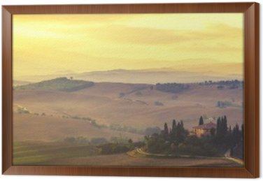 Tavla i Ram Tuscan höst landskap, retro färger, vintage